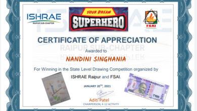 Photo of छः वर्षीय नंदिनी सिंघानिया राज्य स्तरीय ड्राइंग प्रतियोगिता में विजयी, हुई सम्मानित