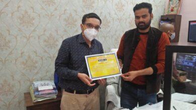 """Photo of अतुल सिंघानिया को मिला """"कोरोना वारियर"""" सम्मान, रायपुर नगर निगम ने किया सम्मानित"""